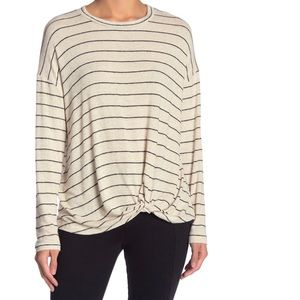 Front Twist Stripe Print T-Shirt